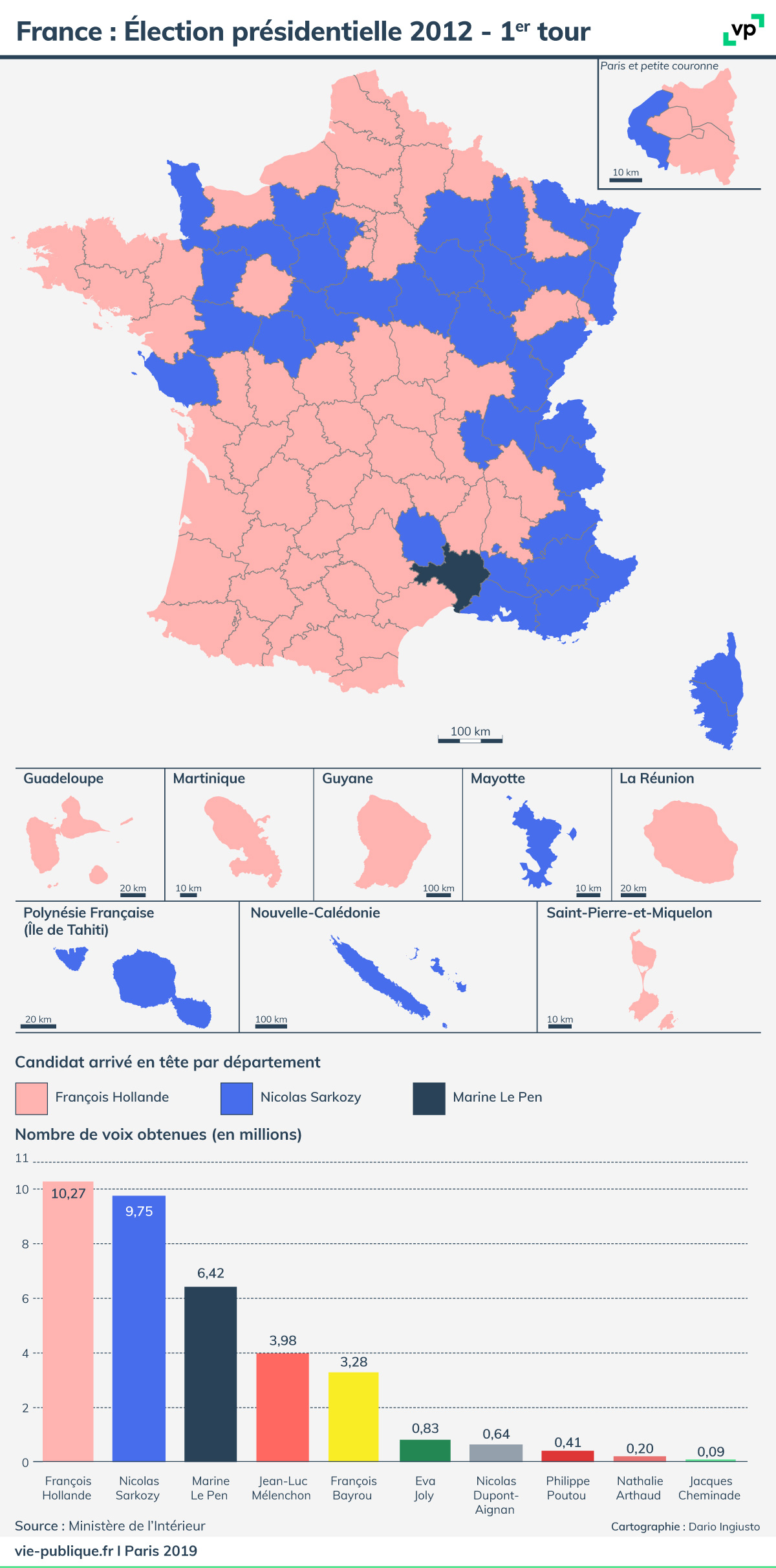 election presidentielle 2020 carte de france France : Élection présidentielle 2012   premier tour | Vie publique.fr
