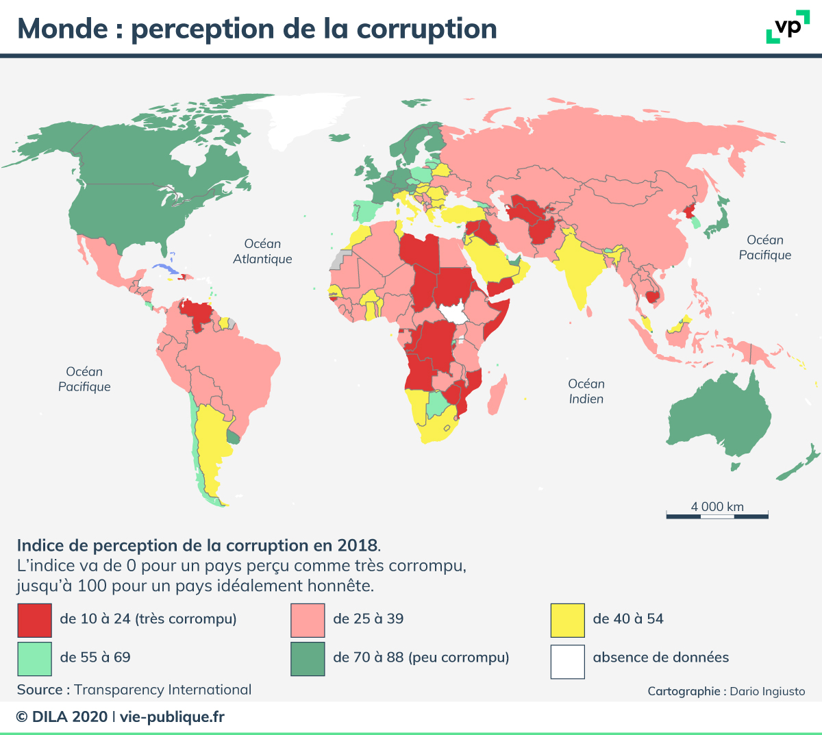 Carte du monde : perception de la corruption en 2018. Description de la carte ci-dessous