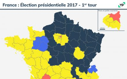 Carte de France : Élection présidentielle 2017 - premier tour. Description de la carte ci-dessous