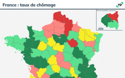 Carte du taux de chômage en France en 2018. Description de la carte ci-dessous