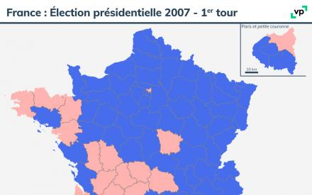 Carte de France : Élection présidentielle 2007 - premier tour. Description de la carte ci-dessous