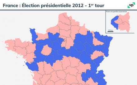 Carte de France : Élection présidentielle 2012 - premier tour. Description de la carte ci-dessous
